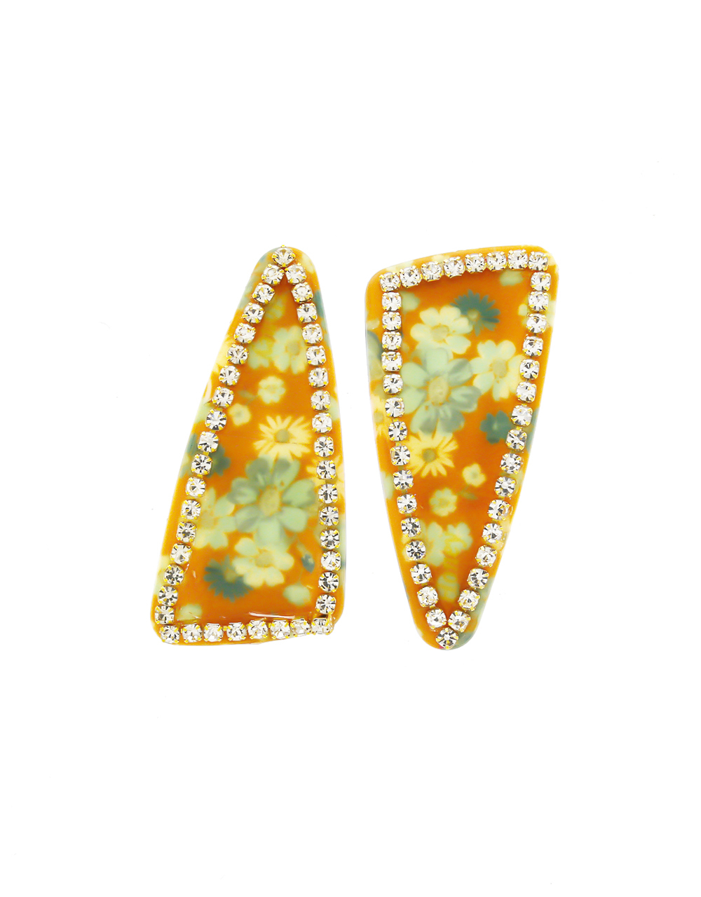 Yellow Colour Designer Studded Stone Party Wear Grip Pin For Women