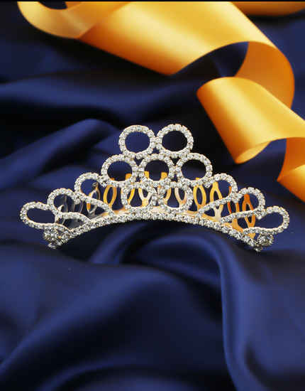 Gold Finish Studded Stone Fancy Hair Crown Tiara Online For Women