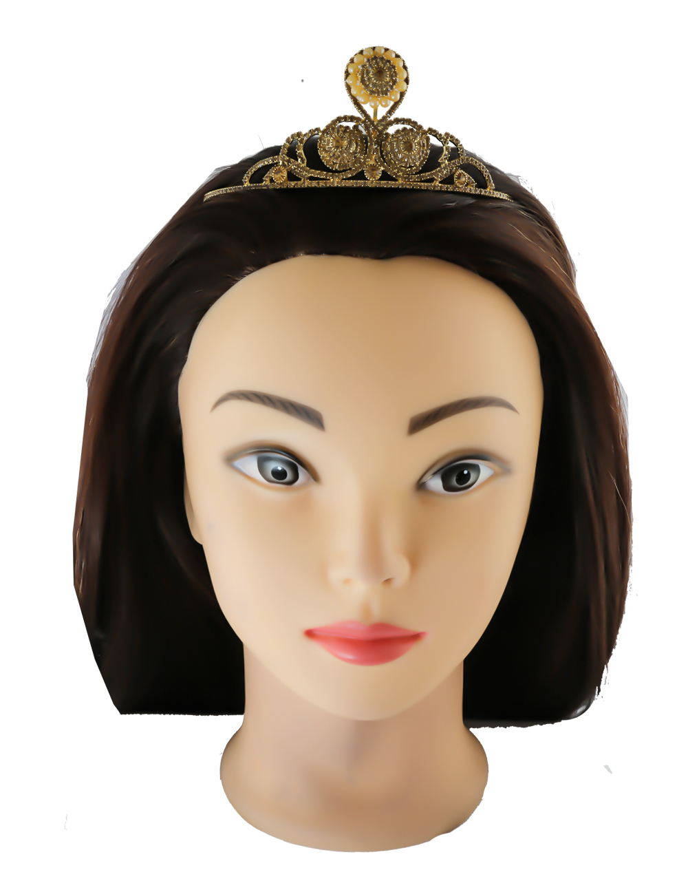 Brown Colour Studded Stone Party Wear Fancy Hair Crown For Women