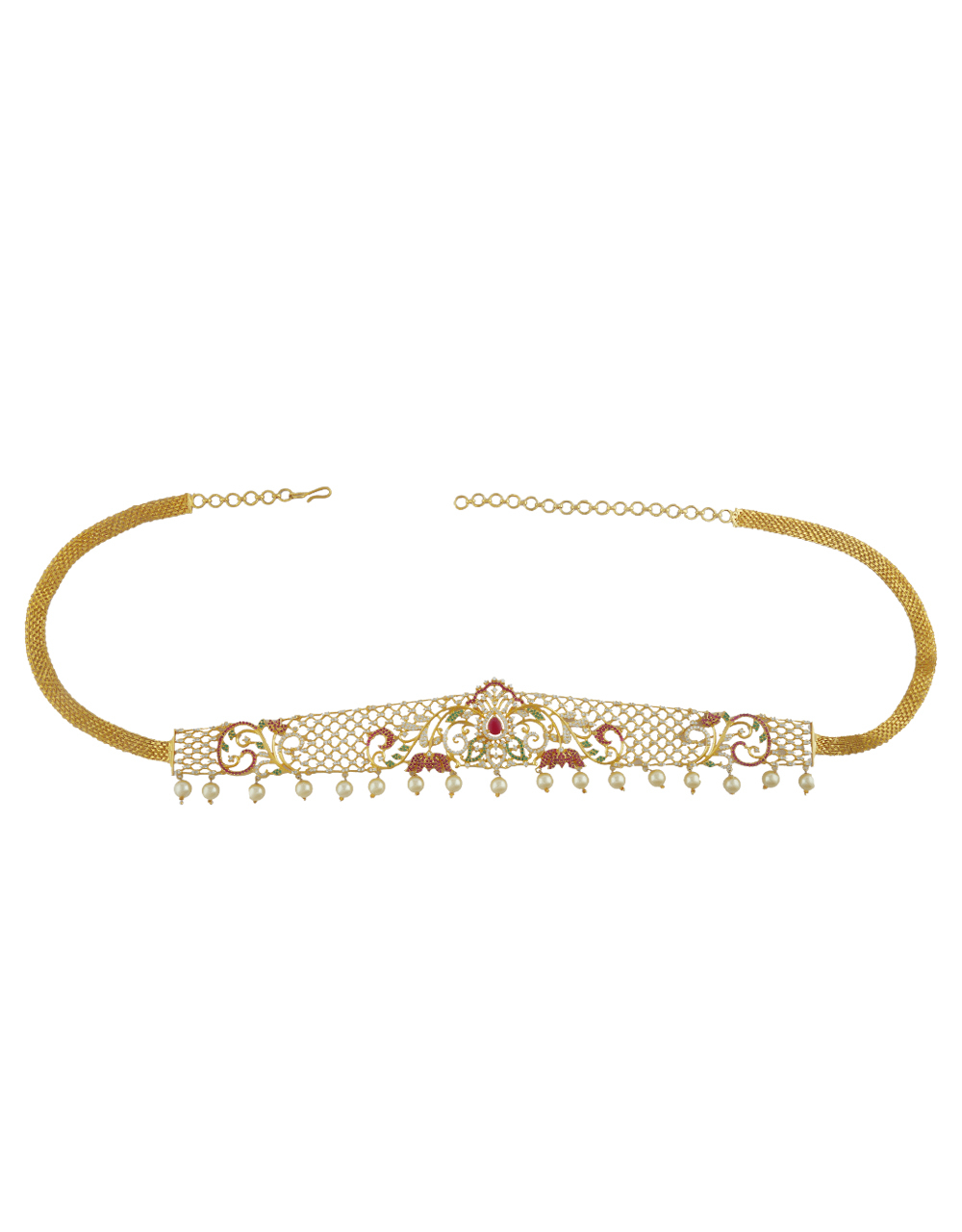 Gold Tone Styled With Mina Work Designer Kamar Patta Kamar Band For Women