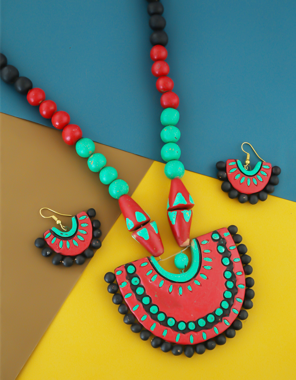 Multi Colour Designer Handmade Terracotta Jewellery Necklace