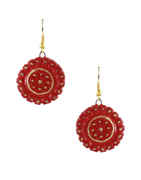 Red-Black Colour Round Shape Intricate Terracotta Work Necklace