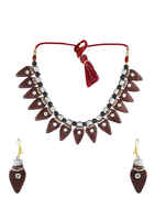 Brown Colour Designer Terracotta jewellery Necklace Set