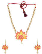 Multi Colour Lotus Flower Designer Terracotta jewellery Necklace Set