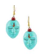Turquiose Colour Simple Saree Wear Terracotta Necklace