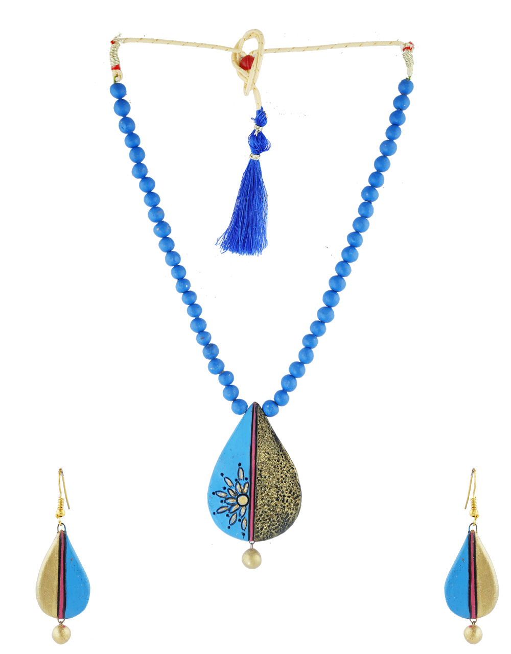 Blue Colour Fancy Terraccotta Necklace Jewellery