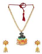 Gold Finish Temple Ganpati Necklace For Women