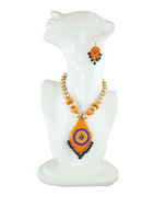 Fancy Orange Colour Terramart Terracotta Jewellery Set