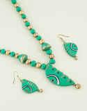 Green Colour Unique Design Fancy Terracotta Necklace Jewellery
