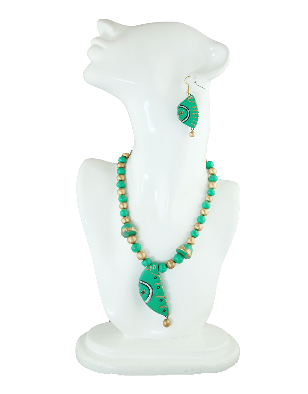 Green Colour Unique Design Fancy Terracotta Necklace Jewellery