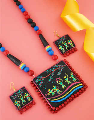 Black Colour Fancy Warli Paint Terracotta Necklace