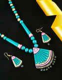 Green Colour Stylish Terracotta Necklace Jewellery