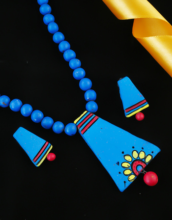 Blue Colour Fancy Handmade Terracotta Necklace For Girls Fancy