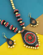 Black Colour Fancy Designer Terracotta Necklace Jewellery