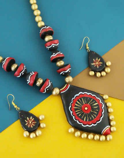 Black Colour Fancy Designer Terracotta Necklace Jewellery
