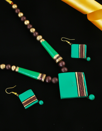 Green Colour Designer Fancy Terracotta Necklace
