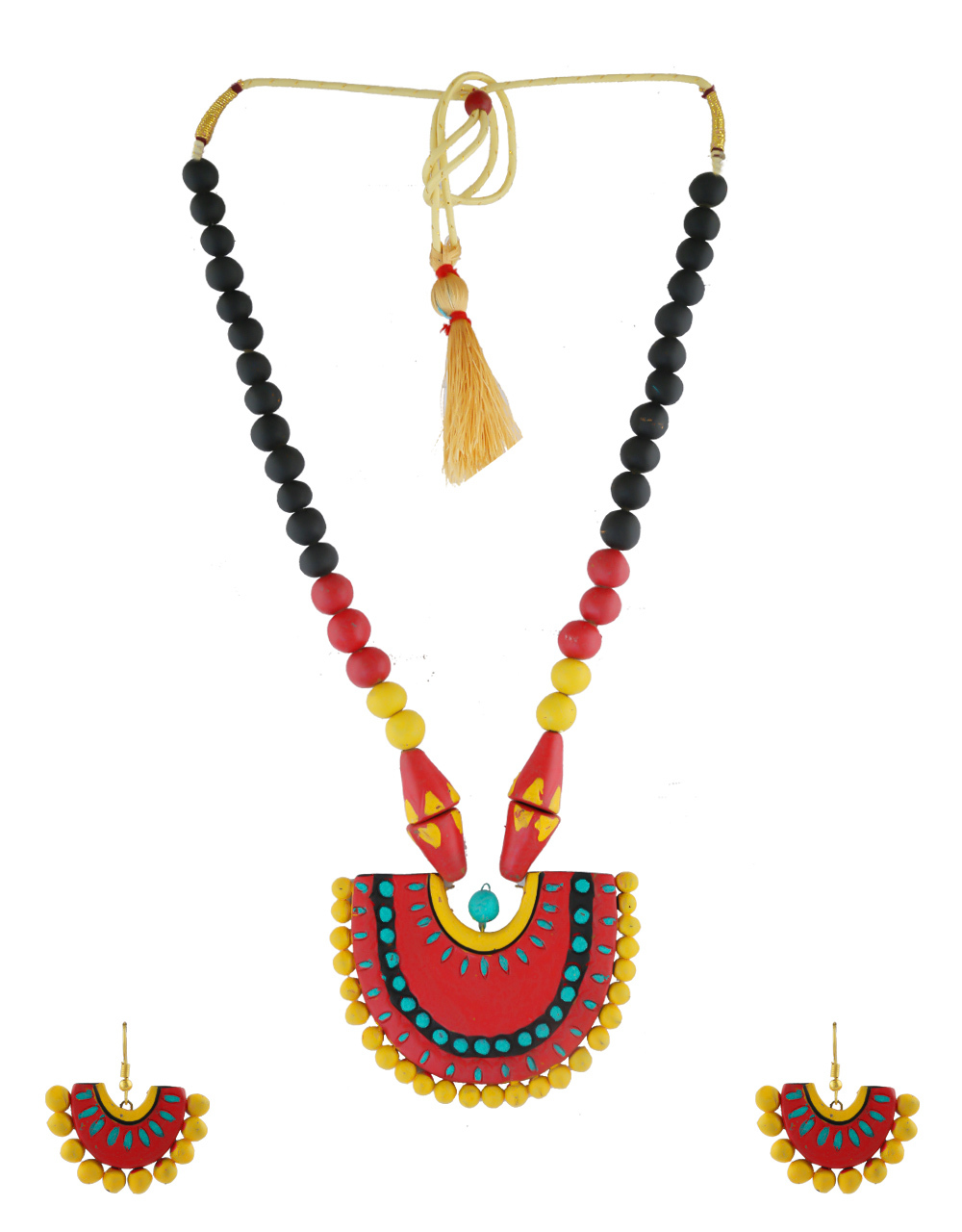Red Colour Simple Terracotta Necklace For Girls