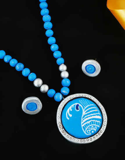 Blue Colour Round Shape Terracotta Necklace For Girls