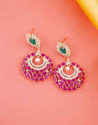 Rose Gold Finish Pink Colour Fancy Earrings For Women