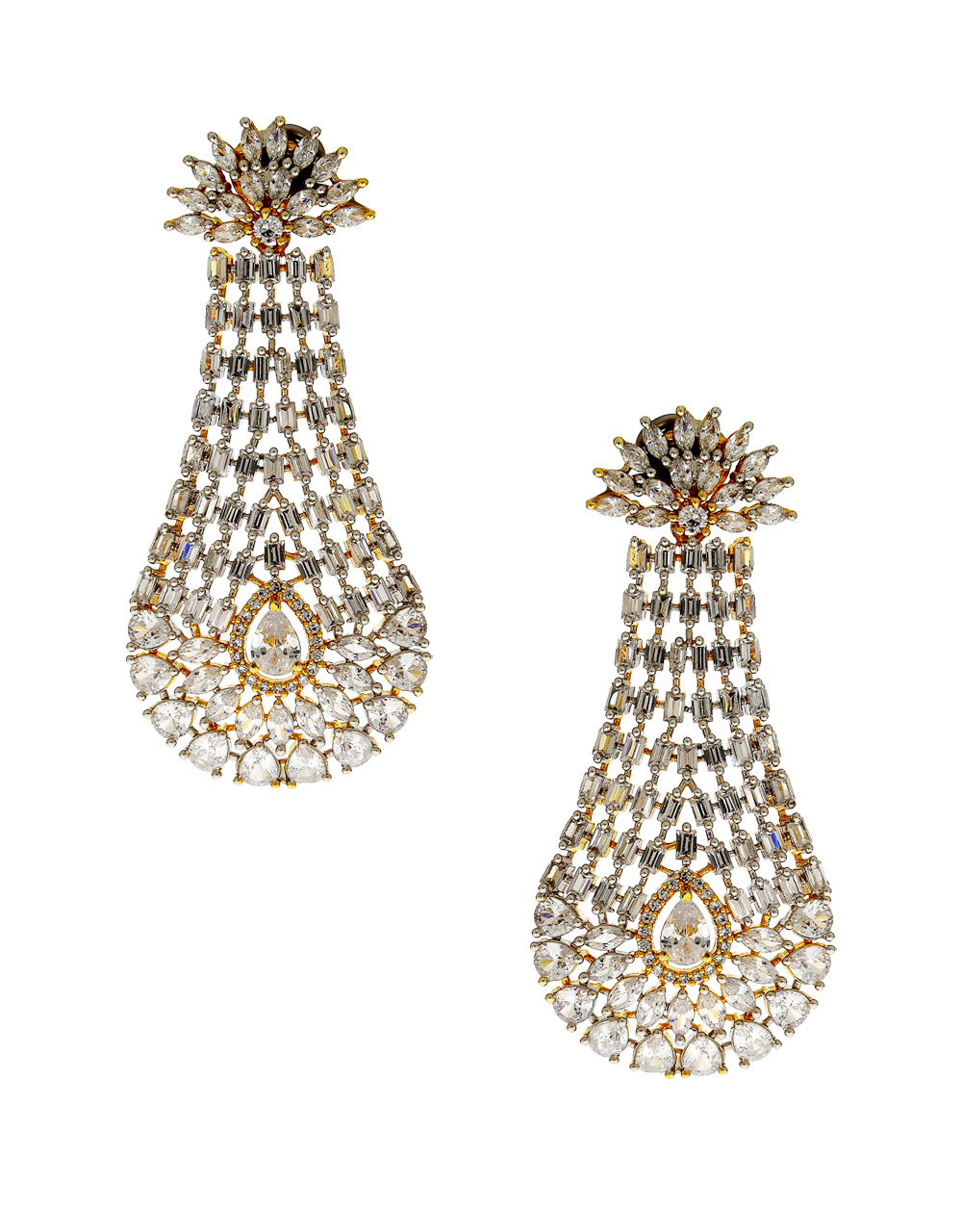 Gold Finish Unique Design American Diamond Earrings For Girls
