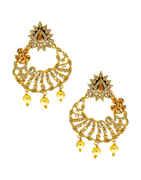 Silver Finish American Diamond Long Fancy Earrings