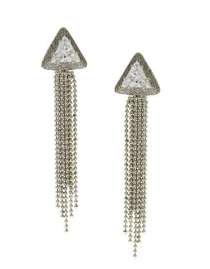 Long Silver Finish Chain Styled Fancy Diamond Earring