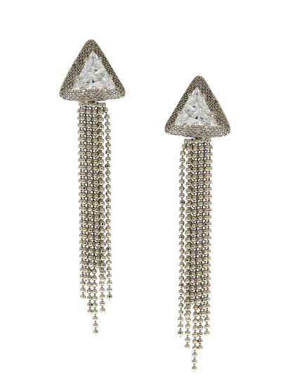 Long Silver Finish Chain Styled Fancy Diamond Earring