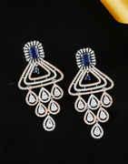 Blue Colour Rose Gold Finish Designer American Diamond Earring
