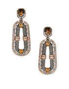 Designer Rose Gold Finish Fancy American Diamond Long Earrings