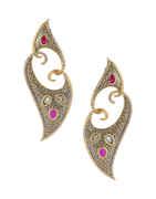 Grey Colour Gold Finish Unique Design Fancy Earrings