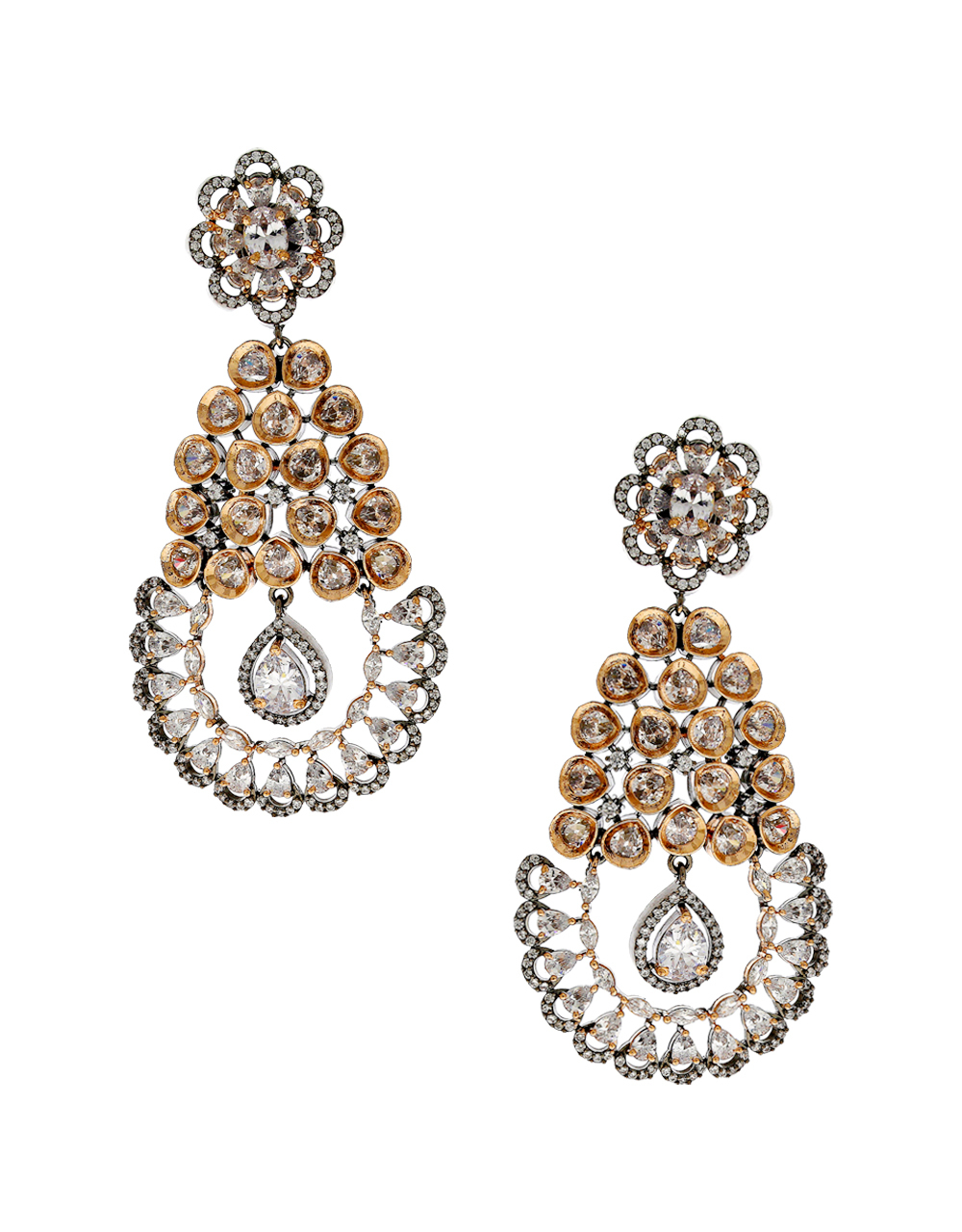 Rose Gold Finish Western American Diamond Long Earrings