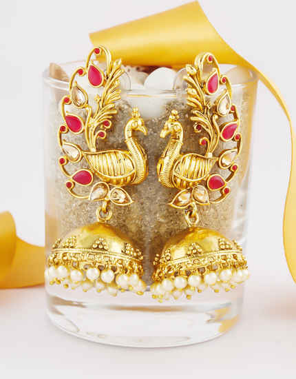 Red Colour Gold Finish Peacock Design Fancy Jhumki