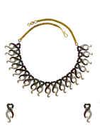 Multi Colour Gold Finish Designer Diamond Necklace