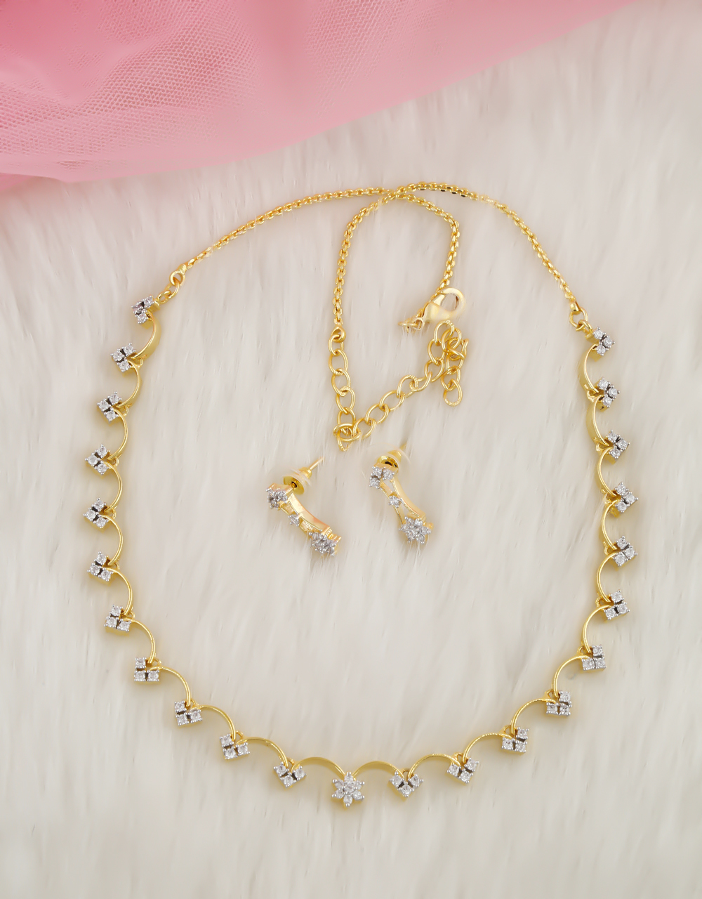 Simple Gold Finish American Diamond Necklace Fancy