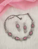 Pink Colour Oxidised Silver Finish Fancy Necklace