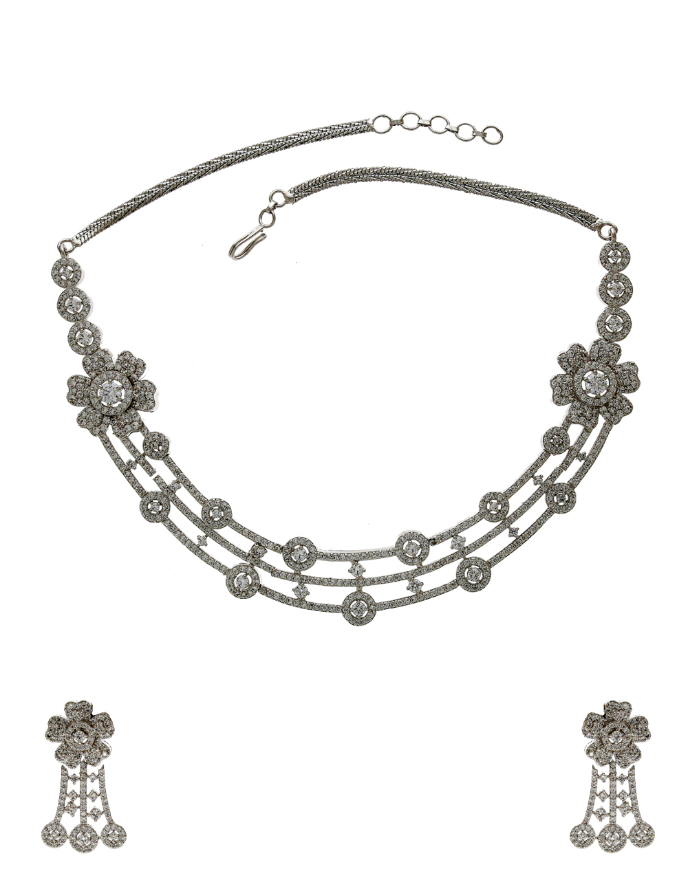 Floral Design Silver Finish Studded With American Diamond Fancy Necklace