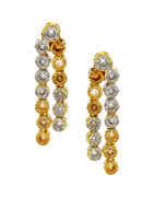 Gold Finish Peach Colour Layered American Diamond Wedding Necklace