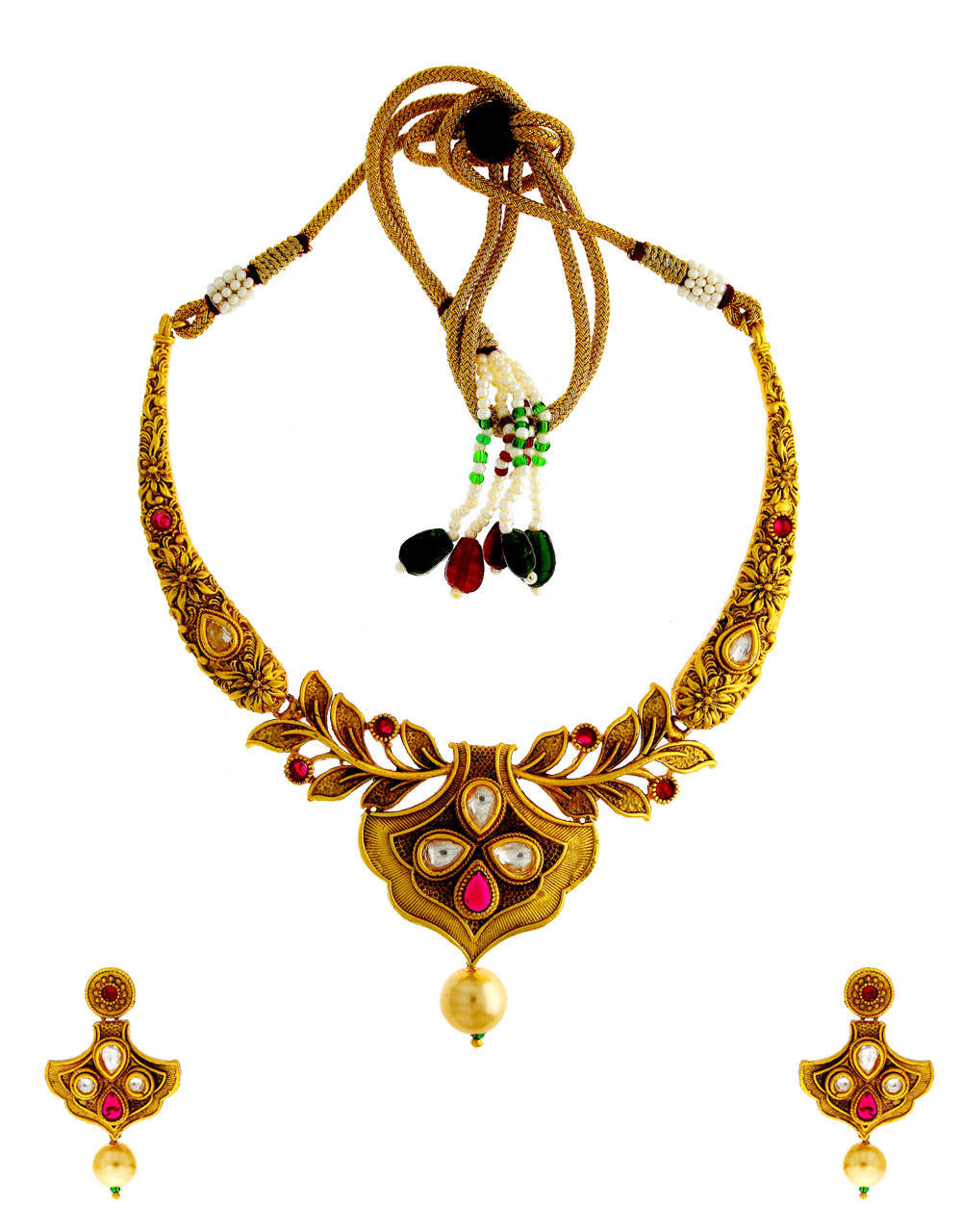 Matte Gold Finish Red Colour Kundan Necklace Jewellery