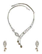 Designer Silver Finish Fancy American Diamond Necklace