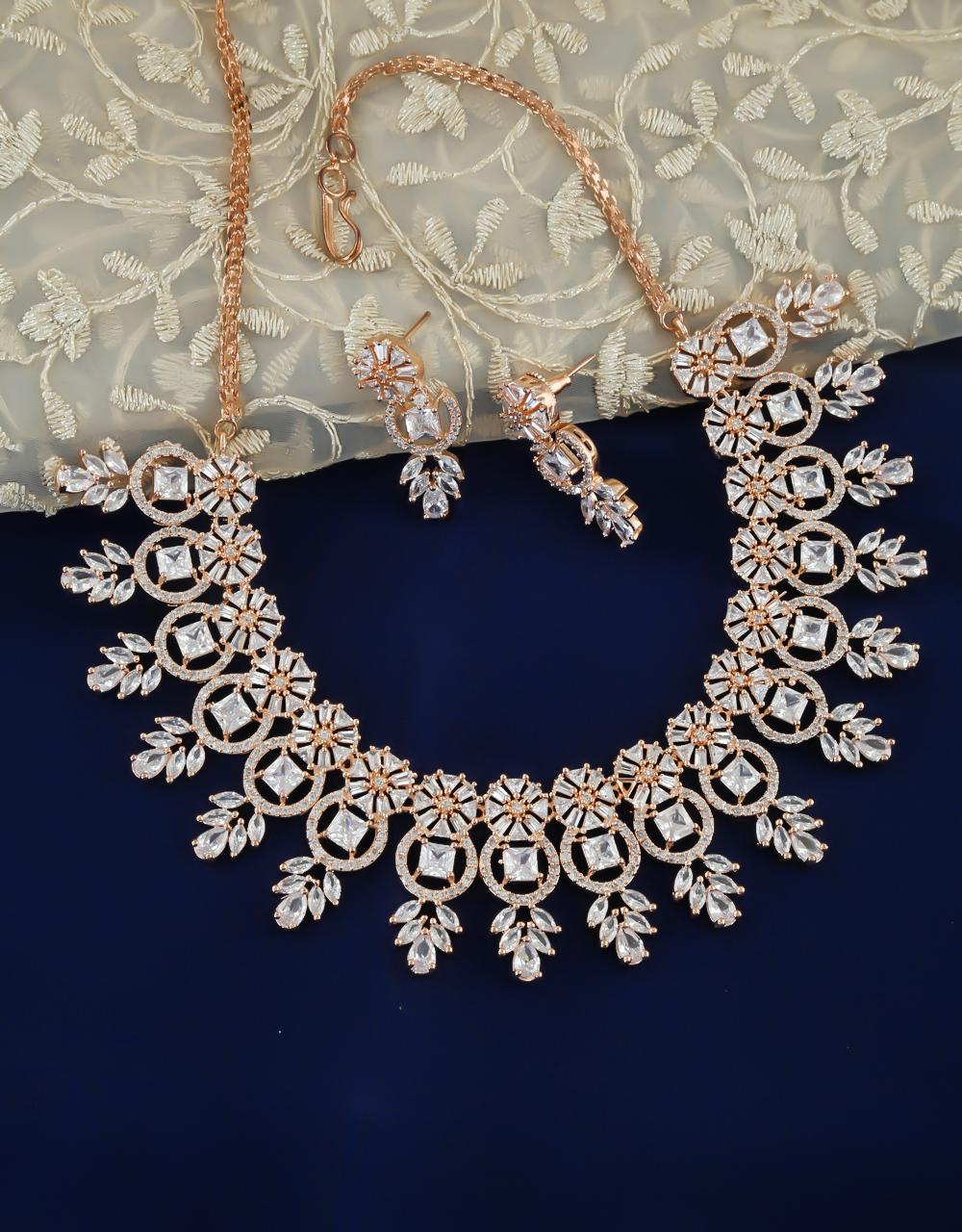 Fashionable Rose Gold Finish American Diamond Necklace