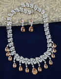 Silver Finish Dazzling American Diamond Necklace Fancy