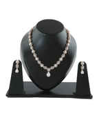Rose Gold Finish American Diamond Fancy Wedding Necklace