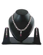 Pink Colour Rose Gold Finish American Fancy Diamond Necklace