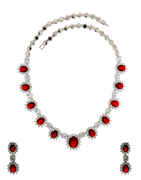 Red Colour Silver Finish Fancy American Diamond Necklace