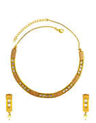 Simple Gold Finish Kundan Diamond Necklace