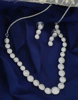 Fancy Silver Finish Stunning Diamond Necklace For Girls