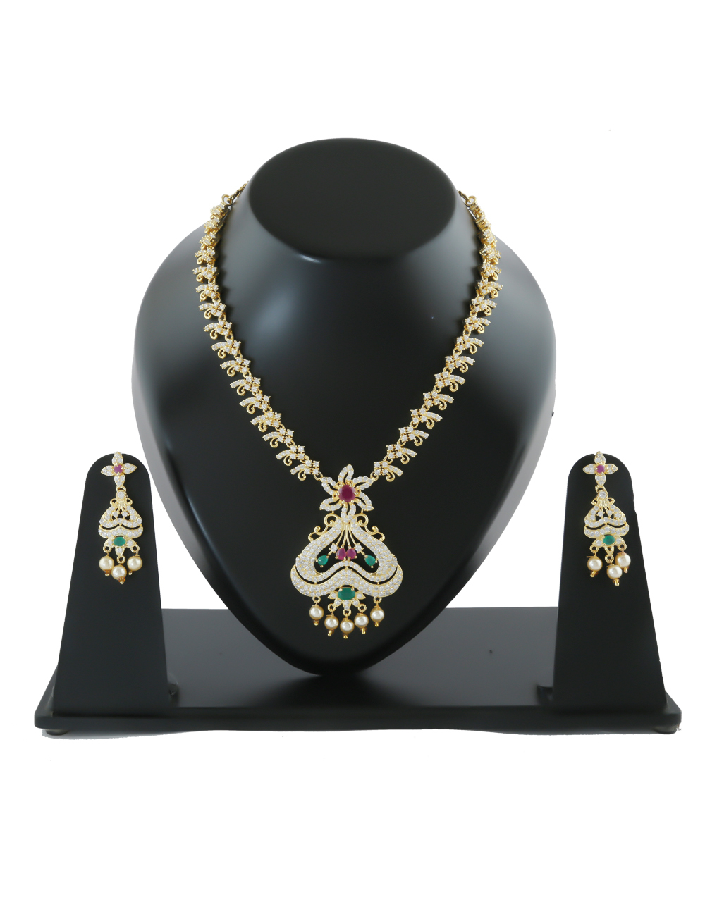 Fancy Multi Colour Gold Finish Pearls Styled Diamond Necklace