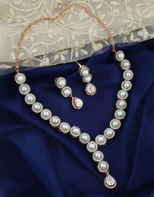 Rose Gold Finish Pearls Styled Diamond Necklace
