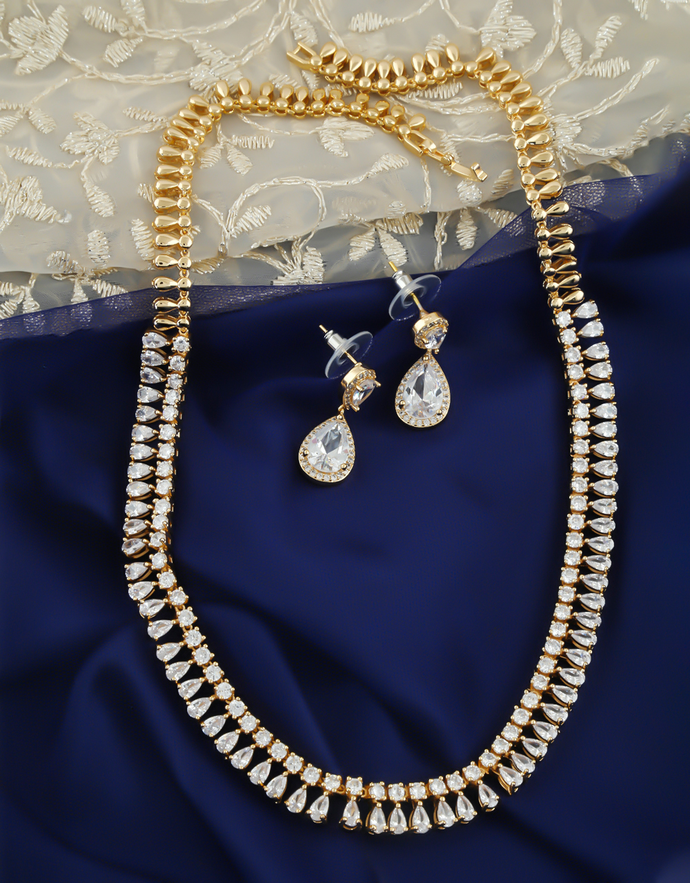Gold Finish Fancy Stunning Diamond Necklace For Girls