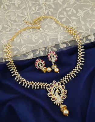 Pink Colour Peacock Design Diamond Moti Necklace